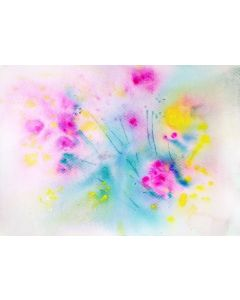 """Magenta Abstract floral painting Acrylic Inks 10""""x 7"""" Gift for her"""