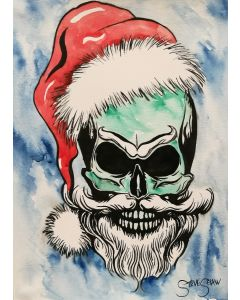 Wicked Christmas. Christmas Skull Watercolour Painting.