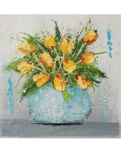 Vase with Yellow Tulips