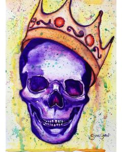 Crowned. Watercolour skull painting. Free Worldwide Shipping.