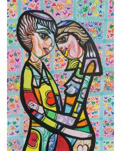 Hugging in love 6 beautiful colorfully love composition Dimisca 60  x 80 cm