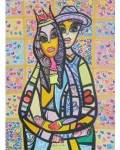 Hugging in love 8 beautiful colorfully love composition Dimisca 60  x 80 cm