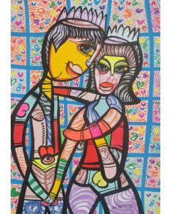 Hugging in love 3 beautiful colorfully love composition Dimisca 60  x 80 cm