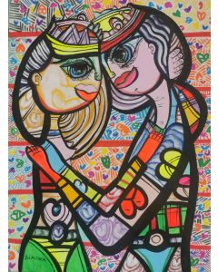 Hugging in love 5 beautiful colorfully love composition Dimisca 60  x 80 cm