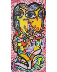 Angels in love 1 beautiful colorfully love composition Dimisca 50  x 100 cm