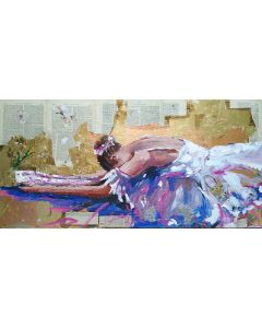 Resting Moment - Ballerina painting on canvas