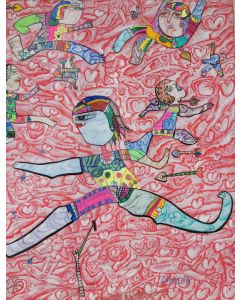 Large XXL pop naive painting beautiful childish style about love and humanity by master L DIMISCA