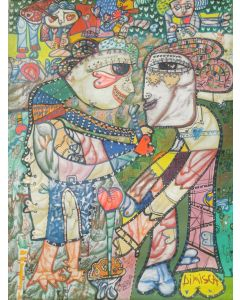 Large XXL pop naive painting beautiful childish style Gathering hearts by master L DIMISCA