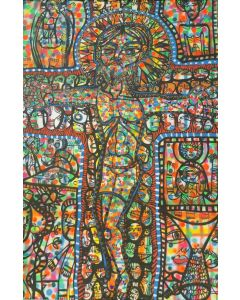 Large XXL pop naive painting beautiful childish style about love and humanity Crucifixion 2 by master L DIMISCA