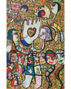 Give a hand of help Large XXL pop naive painting beautiful childish style about love and humanity by master L DIMISCA