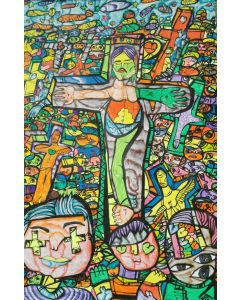 Large XXL pop naive painting beautiful childish style about love and humanity Crucifixion 1 by master L DIMISCA