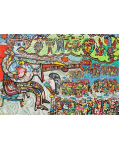Large XXL pop naive painting beautiful childish style Why the guitars are crying by master L DIMISCA