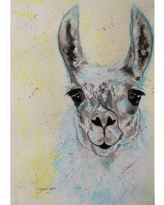 Blue Llama. Watercolour Llama Painting on Paper. 29.7cm x 42cm. Free Worldwide Shipping.