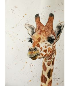 Calm and Pleasant Creature. Watercolour Giraffe painting on paper. 42cm x 59.4cm. Free Worldwide Shipping.
