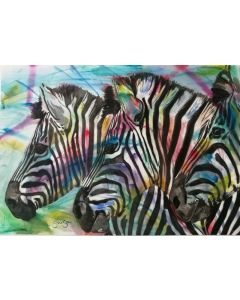 The Three Amigos. Watercolour Zebra painting on paper. 59.4cm x 42cm. Free Worldwide Shipping.