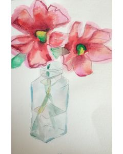 stylised poppies in a glass jar