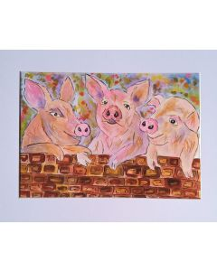 Three Piggys Chatting over the Wall