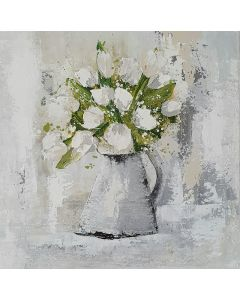 Pitcher with white Tulips