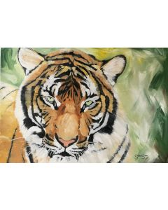 Wild Spirit. Tiger Painting. Oil on Paper. Free Worldwide Shipping