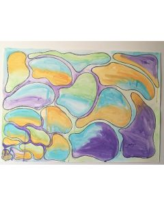 Happy Bubbles. Watercolour Abstract Painting.
