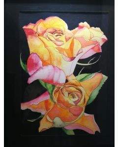 Pink and yellow roses watercolour painting