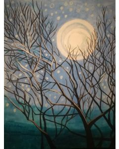 Winter dusk with moon and stars acrylic original painting