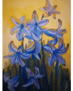 Bluebells watercolour painting with a yellow background.