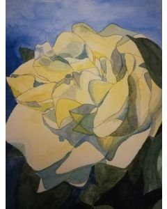 Single yellow rose watercolour painting with a blue background.