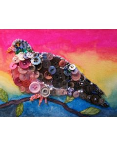 Wood pigeon button collage mixed media painting.