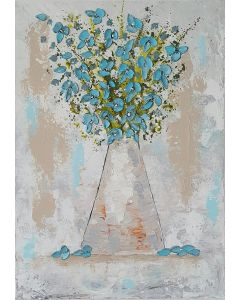 Vase with Teal Flowers