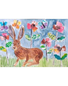 Cute Hare among Poppies and Butterflies