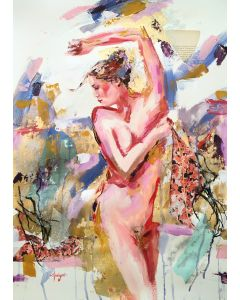 Imperfectly Perfect  nude woman painting on paper
