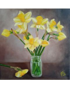 Yellow  Daffodils on the table