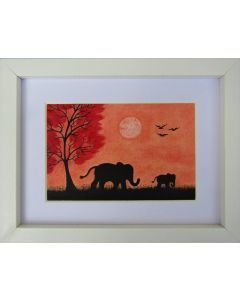 Elephant and Baby (Framed)