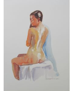 Seated female nude back view
