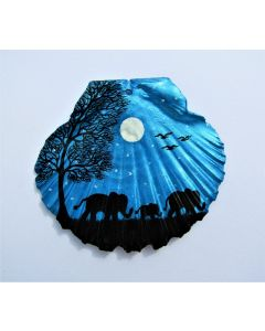 Elephant Painting on Scallop Shell