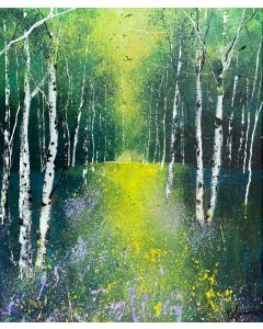 Seasons - Spring Silver Birch Woods Yellow and Violet Wildflowers