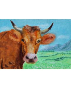 Ginger cow in the field. Oil on paper.Unframed
