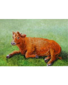Red cow in the field.Oil on paper