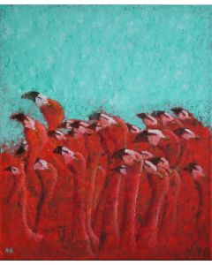 ''Look into the sky'' Pink Flamingo