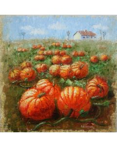 ''House in the pumpkin field''. Original oil painting