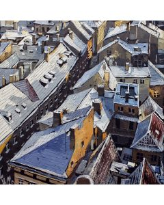 Winter roofs of old Prague