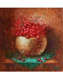''Red berries''. Painting on a small canvas.