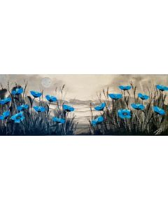 Blue Poppies on a Panoramic Canvas