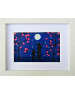 Father, Daughter, Moon and Stars (Framed)