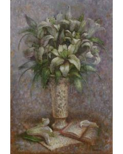 ''Lilies and open book''.White Flowers oil painting.