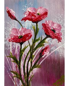 Textured Pink Poppies