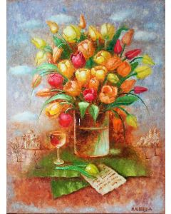 ''Spring Mood''.Floral oil painting on canvas.