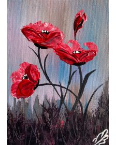 Textured Red Poppies