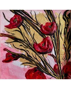 Textured Red Poppies on Gold Leaf